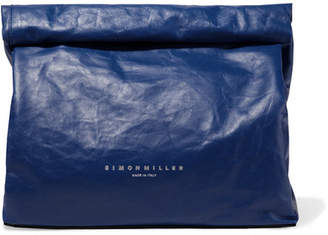 Simon Miller Lunchbag 30 Crinkled-leather Clutch - Cobalt blue