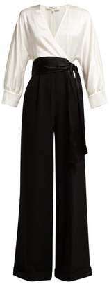 Diane von Furstenberg Marle Wide Leg Jumpsuit - Womens - Black White