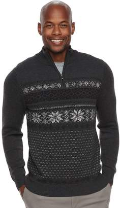 Croft & Barrow Men's Classic-Fit Holiday Fairisle Quarter-Zip Sweater