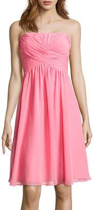 BLU SAGE Blu Sage Strapless Chiffon Bridesmaid Dress