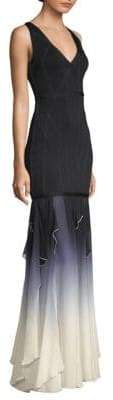 Herve Leger Ombre V-Neck Gown