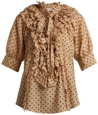 Blend of America LEE MATHEWS Ingall polka-dot cotton and silk blouse