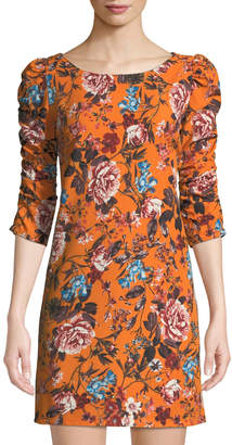 Laundry by Shelli Segal Gathered-Sleeve Floral-Print Shift Dress