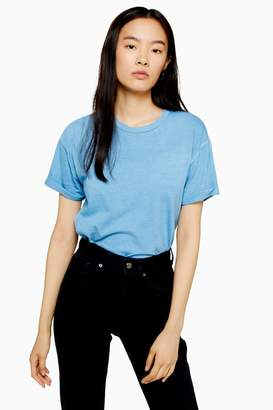 Topshop Blue Raw Hem T-Shirt