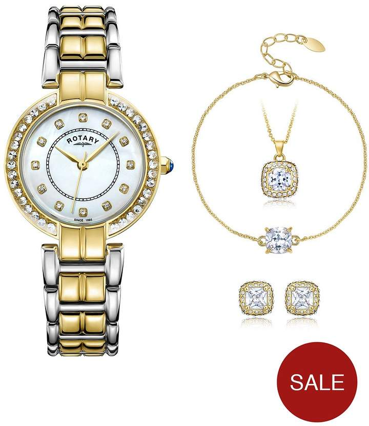 Mother Of Pearl Dial Two-Tone Ladies Watch With Necklace, Bracelet And Earring Set
