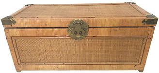 One Kings Lane Vintage Campaign Style Bamboo Trunk - Debra Hall Lifestyle