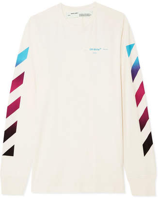 Off-White Printed Cotton-jersey Top - Ecru