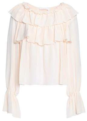 See by Chloe Tiered Silk Crepe De Chine Blouse