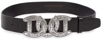 DSQUARED2 Double D Black Leather Belt