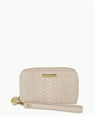 GiGi New York Wristlet Phone Wallet In Bone Embossed Python