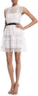 Self-Portrait Sleeveless Lace Belted Mini Cocktail Dress