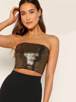 Shein Criss-cross Knotted Back Sequin Bandeau