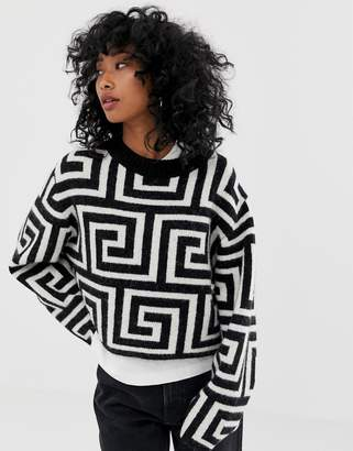 Weekday sweater with geometric roman print in mono