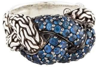 John Hardy Classic Chain Sapphire Lava Large Braided Ring