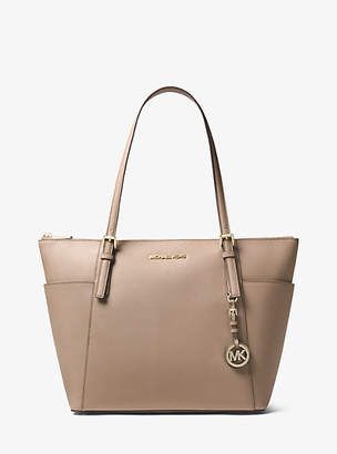 Michael Kors Jet Set Large Saffiano Leather Top-Zip Tote