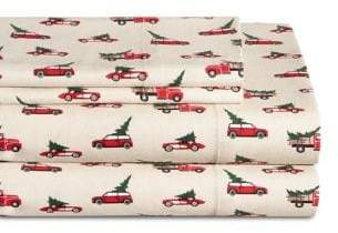 Distinctly Home Four-Piece Holiday Traffic Flannel Sheet Set