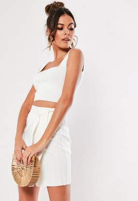 Missguided White Knit Co Ord Square Neck Tank Top