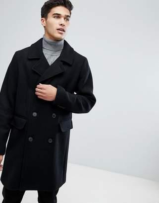 Stradivarius Double Breasted Overcoat In Black