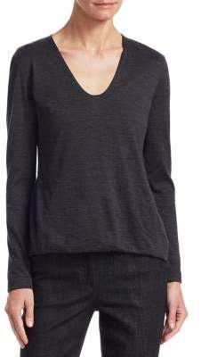 Akris V-Neck Cashmere Top