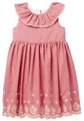 Laura Ashley Embroidered Ruffled Sleeveless Dress (Toddler & Little Girls)