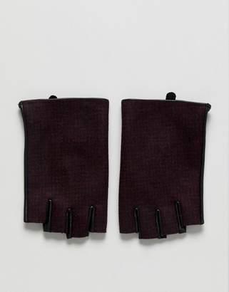 Asos DESIGN Fingerless Leather Gloves In Burgundy Check