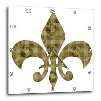 3dRose Gold floral and leaves french fleur de lis, Wall Clock, 13 by 13-inch