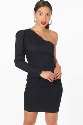 boohoo One Shoulder Puff Sleeve Bodycon Denim Dress