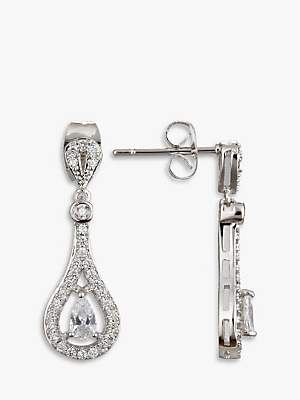 Co Ivory & Timeless Cubic Zirconia Pave Drop Earrings, Silver
