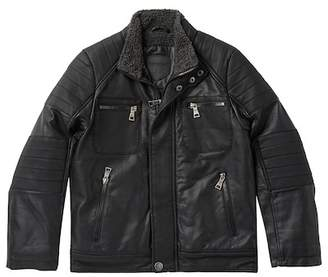 Urban Republic Textured Faux Leather Jacket with Faux Shearling Lining (Big Boys)