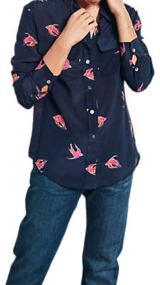 Hush Silk Bird Print Shirt, Midnight/Pink