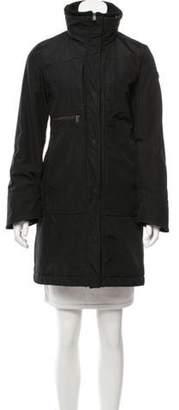 Post Card Hooded Short Coat Black Hooded Short Coat