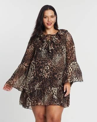 Frill Lace-Up Swing Dress