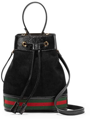 Gucci Ophidia Small Textured Leather-trimmed Suede Bucket Bag - Black