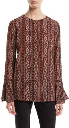 Lafayette 148 New York Izzie Kilim Silk Blouse w/ Bell Sleeves