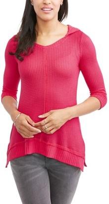French Laundry Women's Long Sleeve Waffle Knit Sharkbite Hem Tunic Hoodie