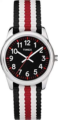 Timex Children's Quartz Watch with Black Dial Analogue Display and Multi-Colour Nylon Strap TW7C10200
