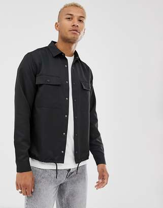 Asos Design DESIGN slinky overshirt in black with drawstring hem