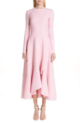 Oscar de la Renta High/Low Ruffle Hem Stretch Wool Midi Dress