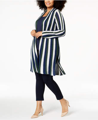 INC International Concepts I.N.C. Plus Size Striped Metallic Completer Sweater, Created for Macy's