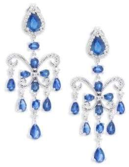 Effy Final Call Diamond, Natural Sapphire and 14k White Gold Drop Earrings