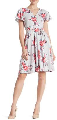 Just For Wraps Floral Print Wrap Midi Dress