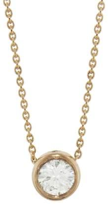 Tate White Diamond Circle Necklace - Rose Gold