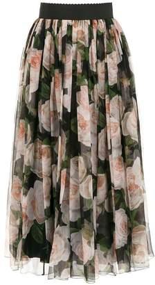 Dolce & Gabbana roses print flared skirt