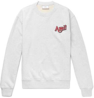 Ami Logo-Embroidered Melange Loopback Cotton-Jersey Sweatshirt