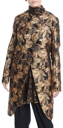 Urban Zen Asymmetric Front Metallic Jacquard Coat
