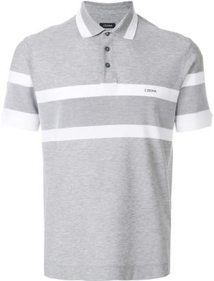 Z Zegna striped logo polo shirt
