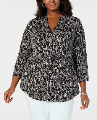 32e2bce1497 Charter Club Plus Size Printed 3 4-Sleeve Top