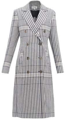Loewe Checked Tailored Linen Coat - Womens - Navy
