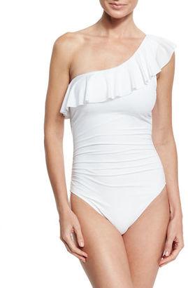 La Blanca Flirtatious One-Shoulder Ruffle Swimsuit $129 thestylecure.com