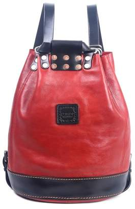 Old Trend Stars Align Leather Bucket Backpack